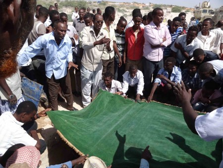 Burial ceremony of late Hassan Fanstastic at Baqdaad Village, outskirts of Mogadishu. Hassan was the Director of local Radio and Television – Shabelle. He became the Shabelle Director killed since 2007. He was Murdered on Saturday 28 January, 2012 near his home in Wadajir district.