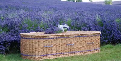 A wicker coffin