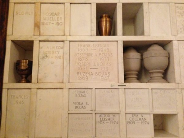 Inside the Detroit Crematorium columbarium at Woodmere Cemetery.