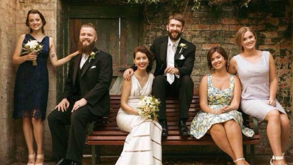 Clare Atkinson on her wedding day with husband Lewis Rowland-Coman.