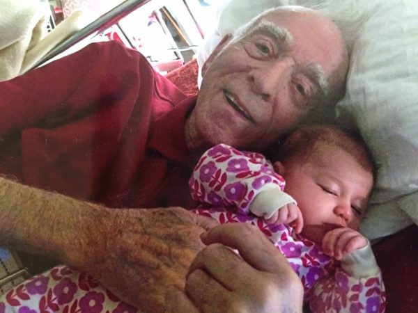The author's father, John T. Harrington, with one of his great-grandchildren, Libby M. Myers.