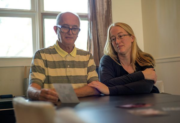Shelley Duffin and her father reflect on her mother's passing through assisted suicide which occured in Switzerland due to narrowly being denied the right in Canada. (Photograph by Jessica Deeks)