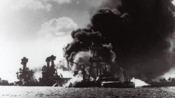 Pictured from left are the battleships USS West Virginia, USS Tennessee, and the USS Arizona, after the attack by Japanese aircraft on Pearl Harbor, Hawaii, on Dec. 7, 1941. (U.S. Navy photography provided by the Naval Photographic Center)