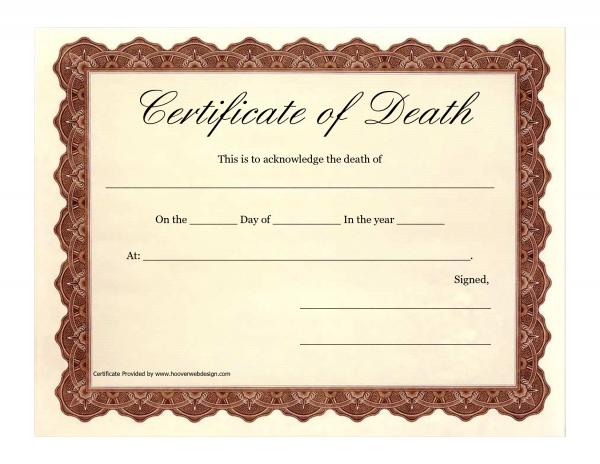 A Death Certificate