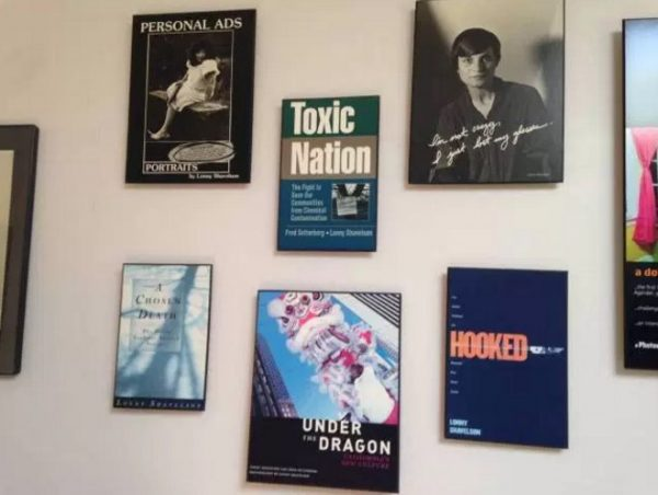 The wall of Lonny Shavelson's office, lined with covers of the books he has written.