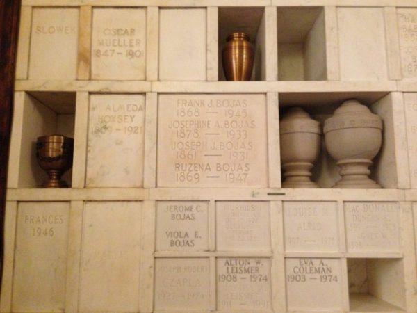 Inside the Detroit Crematorium columbarium at Woodmere Cemetery.